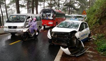 4 ô tô tông nhau ngay nhà mà ở đèo Prenn Đà Lạt