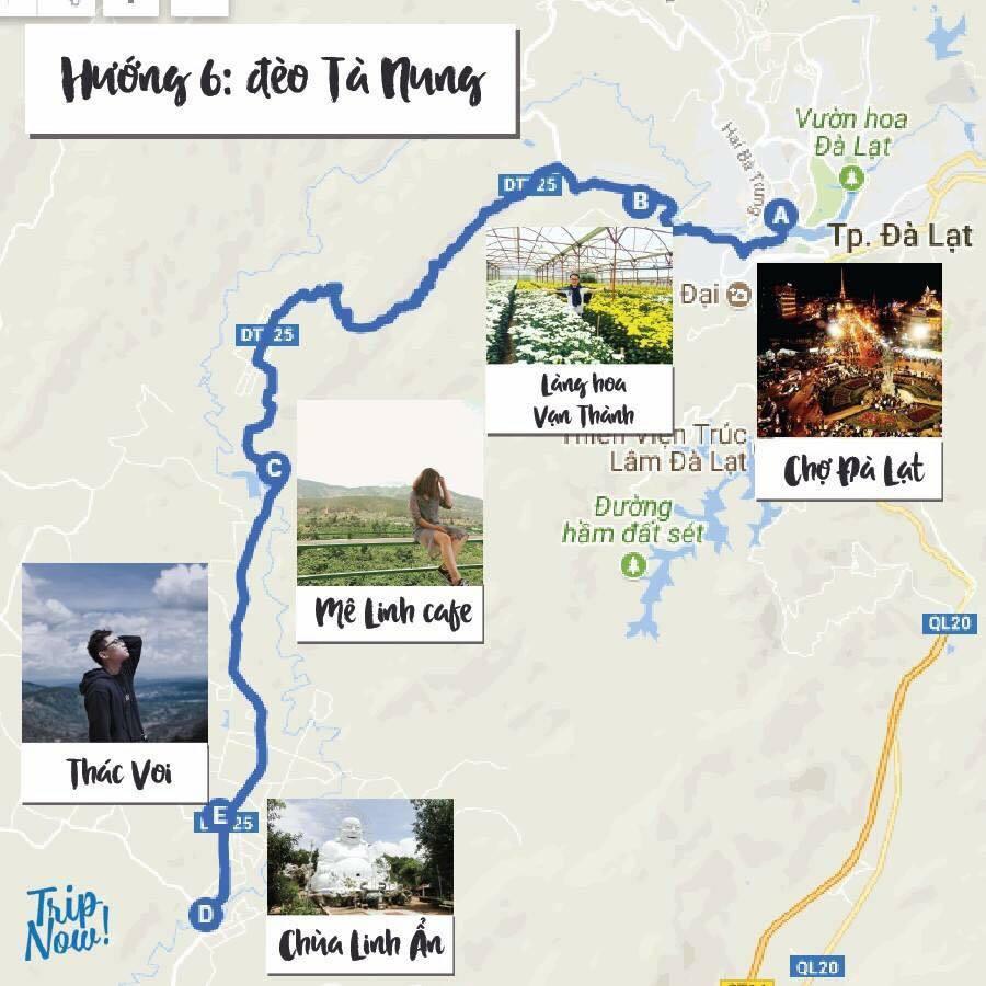 Bản đồ du lịch Đà Lạt và các điểm tham quan trên cùng 1 tuyến đường