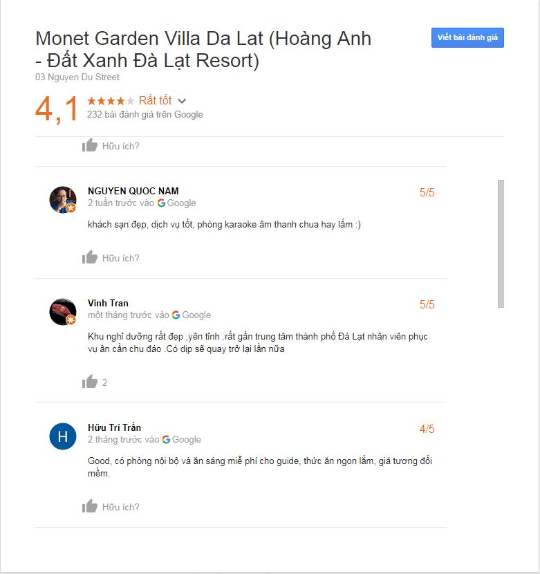 danh gia monet garden villa da lat