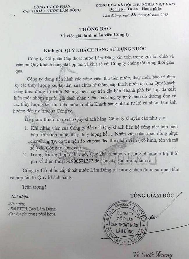 Đà Lạt giả danh nhân viên cấp thoát nước Lâm Đồng để trục lợi